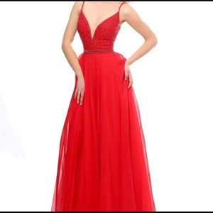 Sherri Hill Red Beaded Chiffon Dresss